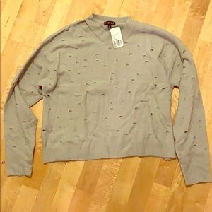 Forever21 NWT grey sweater with holes